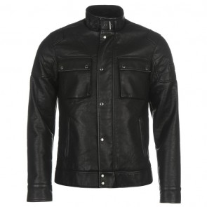 Firetrap Blackseal PU Biker Jacket - Black.