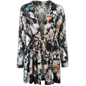 Firetrap Dressing Gown Ladies - Black/Floral.