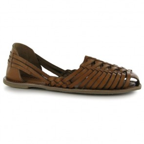 Firetrap Heat Woven Ladies Sandals - Tan Leather.