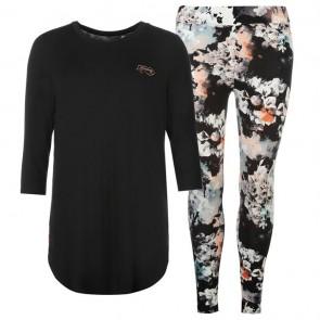 Firetrap Pyjama Set Ladies - Black/Floral.