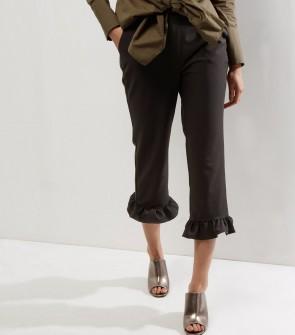 Frill Hem Cropped Slim Leg Trousers - Black.