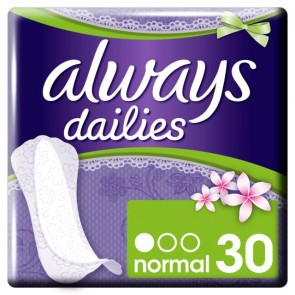 Always Dailies Incredibly Thin Panty Liners 30 Pack.