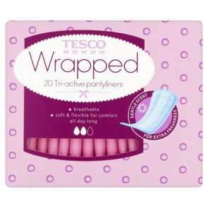 Tesco Individually Wrapped And Folded Panty Liners 20 Pack.