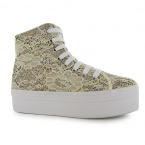 Jeffrey Campbell Homg Lace Platform Shoe - Cream Glitter.