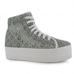 Jeffrey Campbell Homg Lace Platform Shoe - Dark Grey.