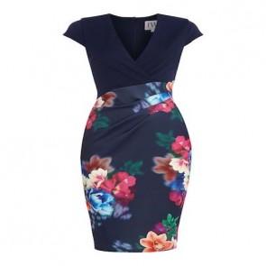 Jessica Wright Cap Sleeve Print Skirt Bodycon Dress - Navy.