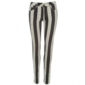 Jilted Generation Stripe Unisex Jeans- Black/White.