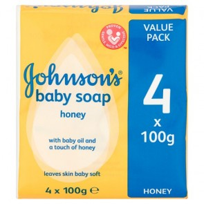 Johnson's Baby Soap Bar Honey 4X100g.