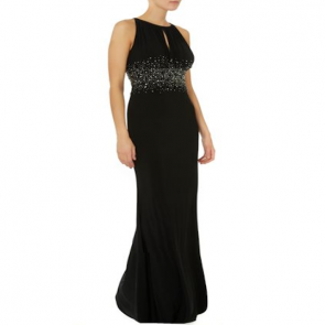 JS Collections Jewel Waist Keyhole Maxi Dress - Black.