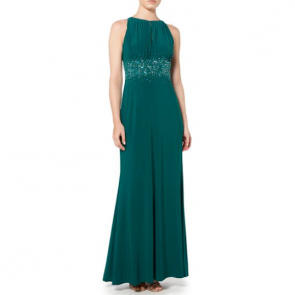 JS Collections Jewel Waist Keyhole Maxi Dress - Green.
