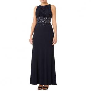 JS Collections Jewel Waist Keyhole Maxi Dress - Navy.
