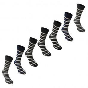 Kangol Formal 7 Pack Socks - Blk Che Nav Stripe.