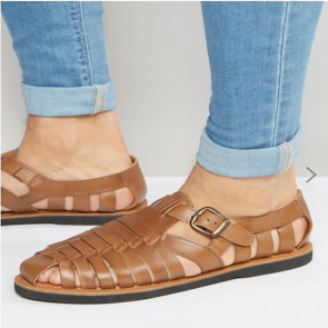 Kurt Geiger Woven Buckle Sandals In Tan Leather.