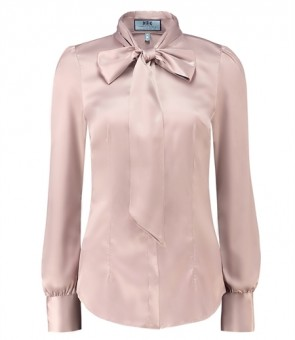 LADIES PLAIN TAUPE FITTED LUXURY SATIN BLOUSE - PUSSY BOW.