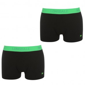 Lansdale 2 Pack Trunk Mens Boxers - Black/Green.
