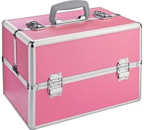 Large Pink Aluminium Vanity Case.