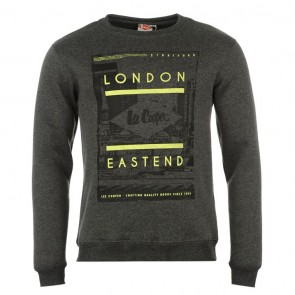 Lee Cooper East End Crew Sweater Mens - Charcoal Marl.