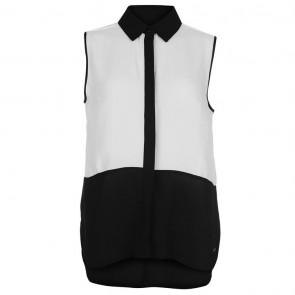 Lee Cooper Sleeveless C & S Blouse - White/Black.