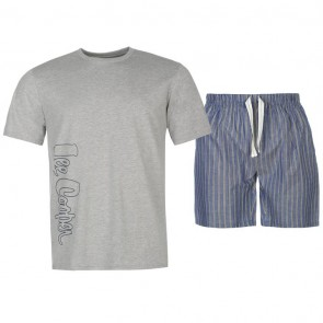 Lee Cooper T Shirt and Shorts Pyjama Set Mens - Grey Marl.