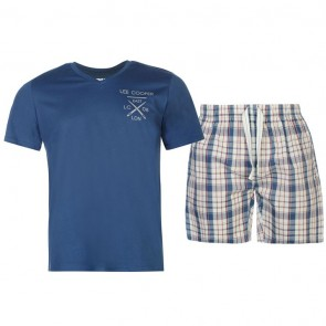 Lee Cooper T Shirt and Shorts Pyjama Set Mens - Light Blue.
