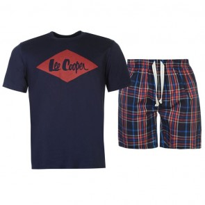 Lee Cooper T Shirt and Shorts Pyjama Set Mens - Navy.