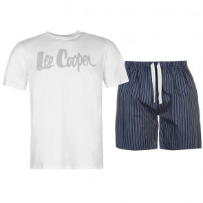 Lee Cooper T Shirt and Shorts Pyjama Set Mens - White.
