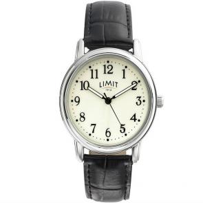 Limit Men's Black Faux Leather Strap Watch