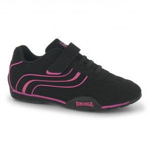 Lonsdale Camden Children's Trainers - Black/Cerise.