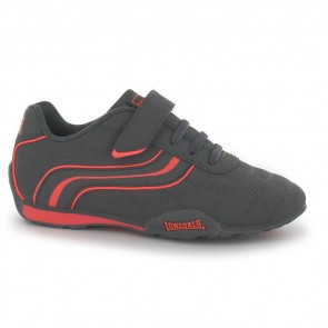 Lonsdale Camden Children's Trainers - Charcoal/Orange.