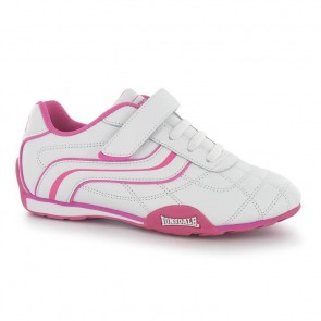 Lonsdale Camden Children's Trainers - White/Cerise.