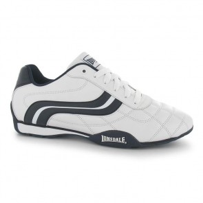 Lonsdale Camden Junior Boys Trainers - White/Navy.