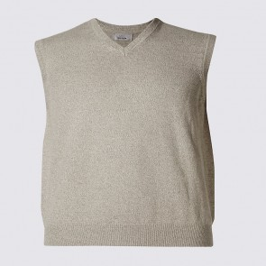M&S COLLECTION Pure Cotton Slipover Jumper - Stone Mix.