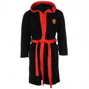 Manchester United Hood Robe Mens - Black.