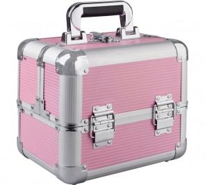 Medium Pink Aluminium Cosmetic Case.