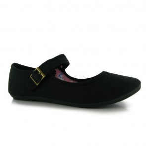 Miss Fiori Canvas Mary Jane Ladies Shoes - Black.