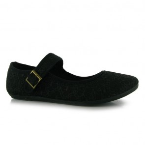 Miss Fiori Canvas Mary Jane Ladies Shoes - Black Broiderie.