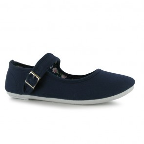 Miss Fiori Canvas Mary Jane Ladies Shoes - Navy.
