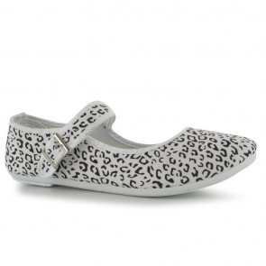 Miss Fiori Canvas Mary Jane Ladies Shoes - White Print.
