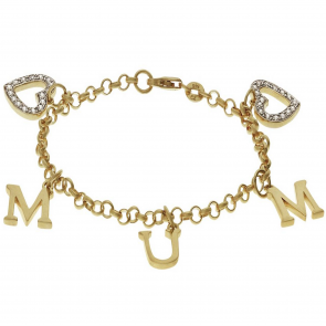 Moon & Back 18ct Gold Plated Silver CZ 'Mum' Charm Bracelet