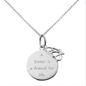 Moon & Back From the Heart Sister Pendant 18 Inch Necklace