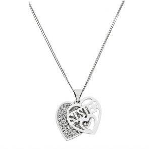 Moon & Back Silver & Crystal Heart Pendant 18 Inch Necklace