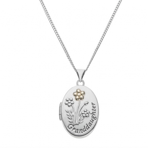 Moon & Back Silver Granddaughter Locket 18 Inch Necklace
