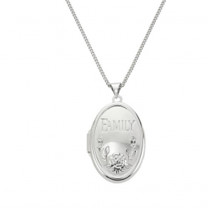 Moon & Back Sterling Silver Oval Family Locket