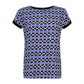 Mystify Printed Turn up Cuff Top Ladies - Blue.