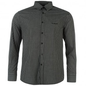 Pierre Cardin Long Sleeve Shirt Mens - Black Check.