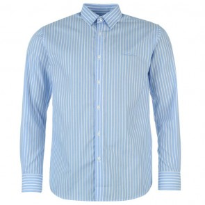 Pierre Cardin Long Sleeve Shirt Mens - Blue/White Stripe.