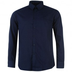 Pierre Cardin Long Sleeve Shirt Mens - Navy/White Geo.