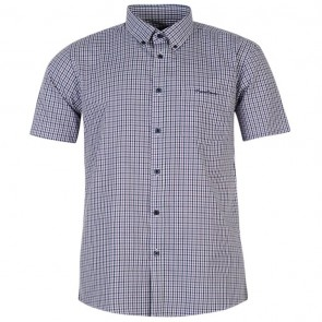 Pierre Cardin Short Sleeve Shirt Mens - Navy/Purp Check.