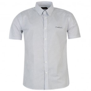 Pierre Cardin Short Sleeve Shirt Mens - White/Royal Geo.