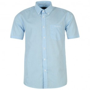Pierre Cardin Short Sleeve Shirt Mens - White/Sky Check.